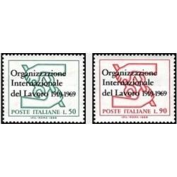2 عدد تمبر پنجاهمین سال سازمان بین المللی کار - ایتالیا 1969