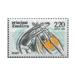 1 عدد تمبر ورزشی - راگبی - فرانسه آندورا 1988