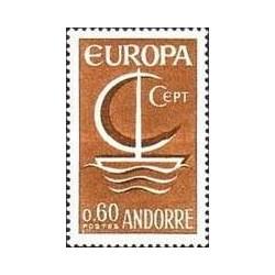1 عدد تمبر مشترک اروپا - Europa Cept - فرانسه آندورا 1966
