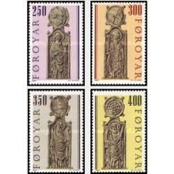 4 عدد تمبر نیمکتهای کلیسا - جزائر فارو  1984