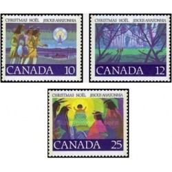 3 عدد تمبر کریستمس - کانادا 1977