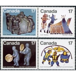4 عدد تمبر اسکیموهای کانادا - پناهگاه و جامعه - کانادا 1979