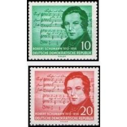 2 عدد تمبر  100مین سالگرد درگذشت روبرت شومان - آهنگساز - جمهوری دموکراتیک آلمان 1956