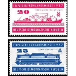 2 عدد تمبر نمایشگاه بهاره لایپزیک - تصویر قطار و کشتی  - جمهوری دموکراتیک آلمان 1957