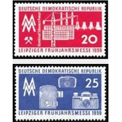 2 عدد تمبر نمایشگاه بهاره لایپزیک - جمهوری دموکراتیک آلمان 1959