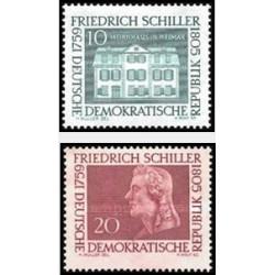2 عدد تمبر یادبود فردریش شیلر - شاعر - جمهوری دموکراتیک آلمان 1959