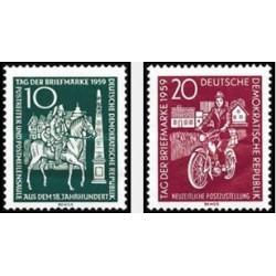 2 عدد تمبر روز تمبر - جمهوری دموکراتیک آلمان 1959