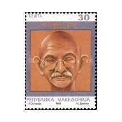 1 عدد تمبر 50مین سال درگذشت مهاتما گاندی - مقدونیه 1998