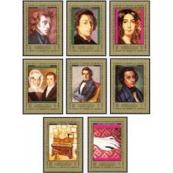 8 عدد تمبر پرتره فردریک شوپن ،آهنگساز و پیانیست لهستانی - تابلو - عجمان 1972