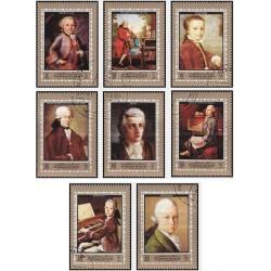 8 عدد تمبر پرتره ولفگانگ آمادئوس موزارت ،آهنگساز اتریشی - تابلو - عجمان 1972 بی باطل
