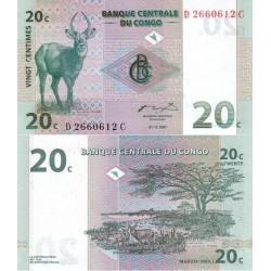اسکناس 20 سنتیم - کنگو 1997