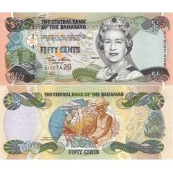 اسکناس  50 سنت - نیم دلار - باهاماس 2001