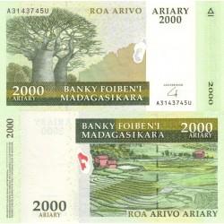 اسکناس 2000 آریاری - ماداگاسکار 2010 بدون ذکر مبلغ به فرانک در حاشیه
