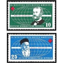 2 عدد تمبر روز بین المللی صلیب سرخ  - جمهوری دموکراتیک آلمان 1957