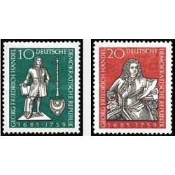 2 عدد تمبر یادبود جرج فردریش هندل - آهنگساز - جمهوری دموکراتیک آلمان 1959