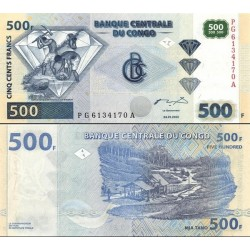 اسکناس 500 فرانک - کنگو 2002 با 3 الماس زیر هم در روی اسکناس و رنگ 500 سبز