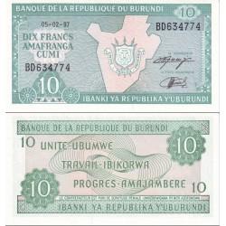 اسکناس 10 فرانک - بروندی 1997
