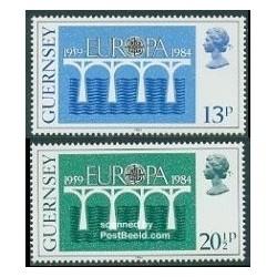 2 عدد تمبر مشترک اروپا - Europa Cept - گورنزی 1984