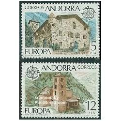 2 عدد تمبر مشترک اروپا - Europa Cept - اسپانیا آندورا 1978