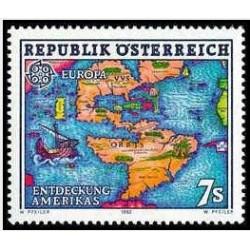 1 عدد تمبر مشترک اروپا - Europa Cept - پانصدمین سالگرد کشف آمریکا -اتریش 1992