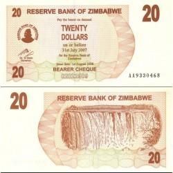 اسکناس 20 دلاری زیمباوه 2006 تک