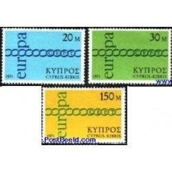3 عدد تمبر مشترک اروپا - Europa Cept - قبرس 1971