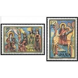 2 عدد تمبر کریسمس - تابلو نقاشی - اسپانیا 1977