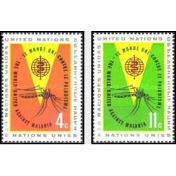 2 عدد تمبر ریشه کنی مالاریا - نیویورک ، سازمان ملل 1962