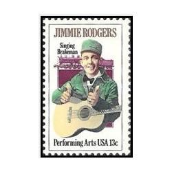1 عدد تمبر هنرهای نمایشی-جیمی راجرز - پدر موسیقی کانتری   - آمریکا 1978
