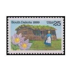 1 عدد تمبر تاسیس ایالت داکوتای جنوبی - آمریکا 1989