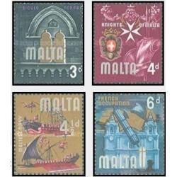 4 عدد تمبر استقلال - مالت 1965