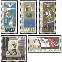 5 عدد تمبر پنجمین سالگرد استقلال  - مالت 1969