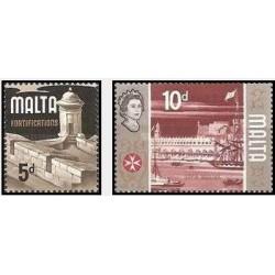 2 عدد تمبر استحکامات - مالت 1970
