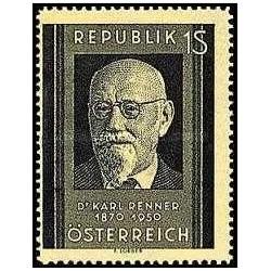 1 عدد تمبر یادبود دکتر کارل رنر - رئیس جمهور - اتریش 1951