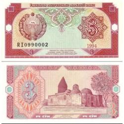 اسکناس 3 سام - ازبکستان 1994