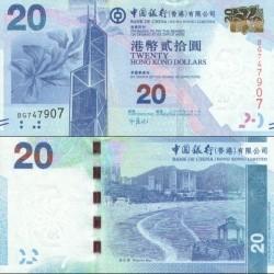 اسکناس 20 دلار - بانک چین - هنگ کنگ 2010