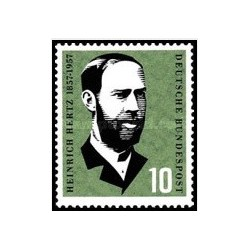 1 عدد تمبر صدمین سالگرد تولد اج آر هرتز - جمهوری فدرال آلمان 1957