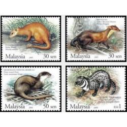 4 عدد تمبر پستانداران محافظت شده مالزی - مالزی 2005