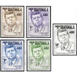 5 عدد تمبر پست هوایی - بزرگداشت کندی رئیس جمهور آمریکا - 1963- 1917- گواتمالا 1964
