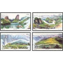 4 عدد تمبر کوه های وویی - تابلو منظره - چین  1994