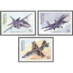 3 عدد تمبر 25مین سالگرد مرگ پاول سوخوی - هواپیما - بلاروس 2000