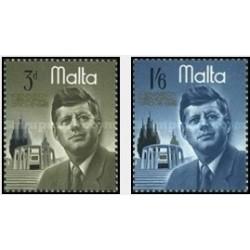 2 عدد تمبر جان اف . کندی - رئیس جمهور - مالت  1966
