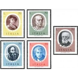 5 عدد تمبر هنرمندان معروف - ایتالیا 1977