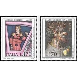 2 عدد تمبر هنر ایتالیایی - تابلو نقاشی - ایتالیا 1977