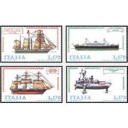 4 عدد تمبر کشتیهای ایتالیایی - ایتالیا 1977