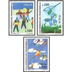 3 عدد تمبر روز تمبر - ایتالیا 1977
