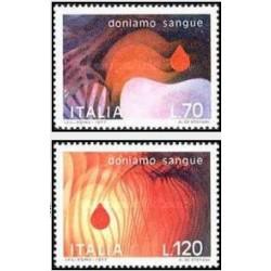 2 عدد تمبر اهداکنندگان خون - ایتالیا 1977