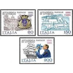3 عدد تمبر صدمین سالگرد آکادمی نیروی دریایی لیو ورنو - ایتالیا 1981