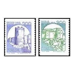 2 عدد تمبر سری پستی قلعه ها  - ایتالیا 1981