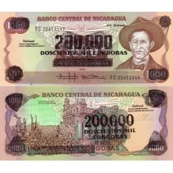 اسکناس سورشارژ 200000 کردوبا - نیکاراگوئه 1990